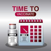 tiempo mundial de vacunación calendario de vacunación protección contra covid 19 vector