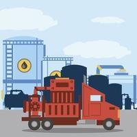 Industria de exploración de tanques de almacenamiento de camiones de fracking vector