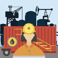 female worker fracking refinery tower oil rig production vector