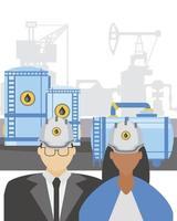 industry petroleum male and female workers refinery tanks vector