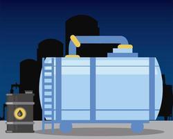 fracking planta de refinería tanque de almacenamiento barril de petróleo vector