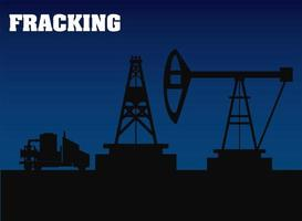 fracking oil rig drilling equipment and truck silhouette vector