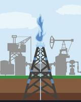 fracking tower gas and oil rig industry exploration vector