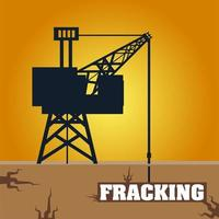 fracking tower with cabin and oil drill underground vector