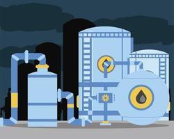 Tanques de petróleo de fracking, almacenamiento de tuberías en la industria de refinerías. vector