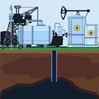 bomba de la estación industrial del tanque de almacenamiento de la planta de la refinería del fracking vector