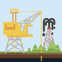 fracking refinery towe oil rig exploration and production vector