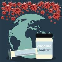 vaccine covid 19 coronavirus world medicine vial and syringe vector