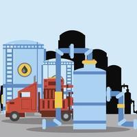 Industria de refinería de almacenamiento de tanque de aceite de camión de fracking vector