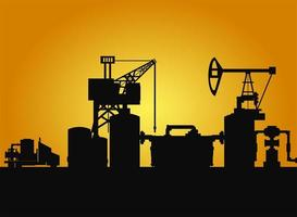 dark silhouette of drilling rig and pump fracking vector