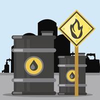 Extracción de fracking tanques de barril de petróleo signo de sustancia inflamable vector