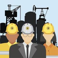fracking oil tower rig manager and workers characters vector