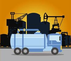 fracking oil rig truck tank and pipeline vector