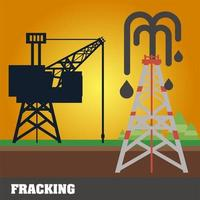 fracking refinery tower oil rig extraction and production vector