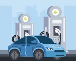 electric vehicle station pump ecology service vector