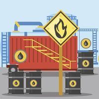 Barriles de aceite de almacenamiento de contenedores de fracking con signo de sustancia inflamable vector