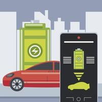 electric car battery level smartphone control application vector