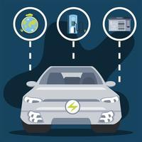 electric car vehicle battery clean energy world vector