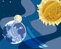 space planet sun moon astronomy galaxy vector