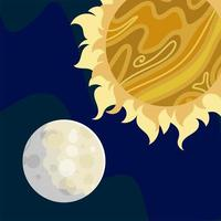 space astronomy sun moon cosmos solar system vector