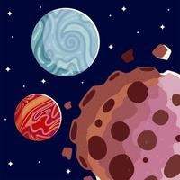 space mars planets asteroids galaxy cosmos stars background vector