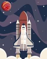 space shuttle satellite explore adventure travel vector