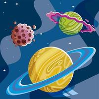 space planets galaxy ring asteroid stars texture vector