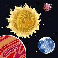 space earth planet surface asteroid and sun solar system vector