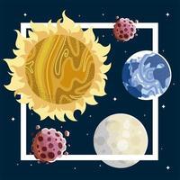 space explore planets moon sun asteroid galaxy stars vector