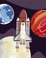 space exploration rocket exploring planets and moon vector