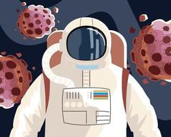space explorer cosmonaut or astronaut in spacesuit with asteroids vector