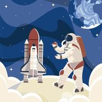 space astronaut in surface moon spaceship and planet vector