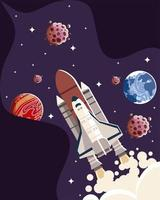 space spaceship planets asteroids galaxy exploration vector