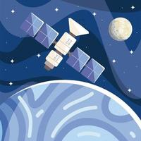 space satellite orbiting planet moon in starry sky cosmos exploration vector