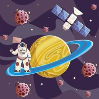 space astronaut with flag in planet asteroids and satellite vector
