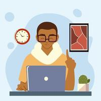 young man working with laptop at her desk at home vector