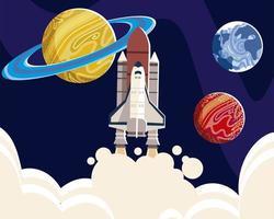 space spaceship explore planets universe galaxy vector