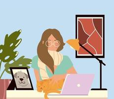 woman working with laptop at her work desk work at home vector