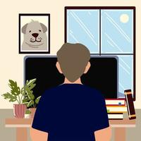 freelance man working on laptop at room desk vector