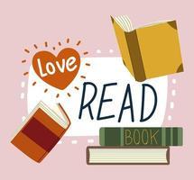 libros y amor leer libros de texto para estudios académicos vector