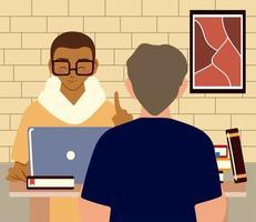 dos hombres jóvenes que trabajan con la computadora portátil en la habitación de casa vector