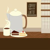 restaurant kettle coffee cup and slices cake dessert and pastry vector