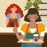 waitress holding a tray with food and female barista behind coffee shop counter vector