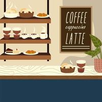 coffee shop cups cake donut croissant on counter vector