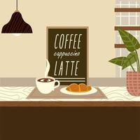 coffee shop croissant latte lamp and plant vector