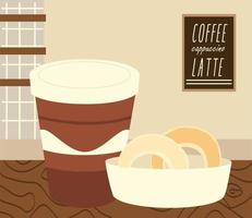 coffee shop takeaway cup and donuts in basket vector