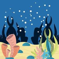 mundo submarino algas marinas burbujas de coral piedras y arena vector