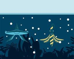 underwater world hammerhead shark and fish vector
