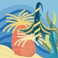 mundo submarino peces exóticos arrecifes de coral y algas vector