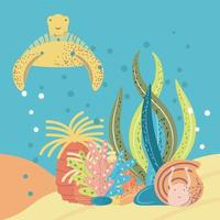 underwater world turtle snail anemone coral and reef vector